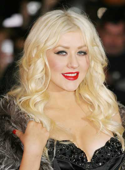 Christina Aguilera Long, Curly, Blonde Hairstyle