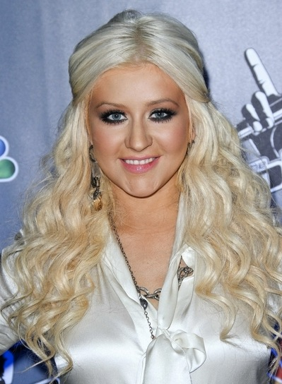 Christina Aguilera Long, Wavy, Sophisticated, Edgy, Blonde Half Updo