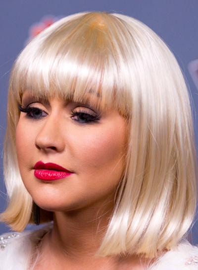 Christina Aguilera's Short, Straight, Blonde Hairstyle with Bangs