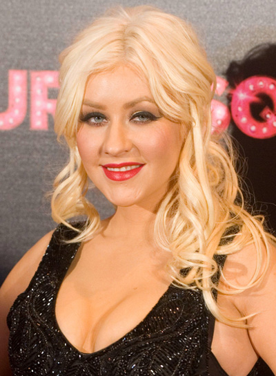 Christina Aguilera Long, Curly, Blonde Half Updo