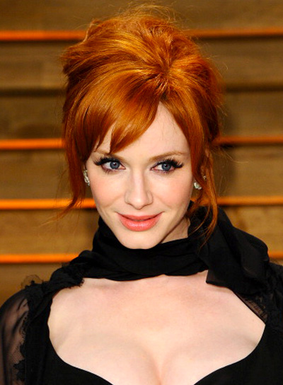 Christina Hendricks Sexy, Red, Updo Hairstyle with Bangs Pictures