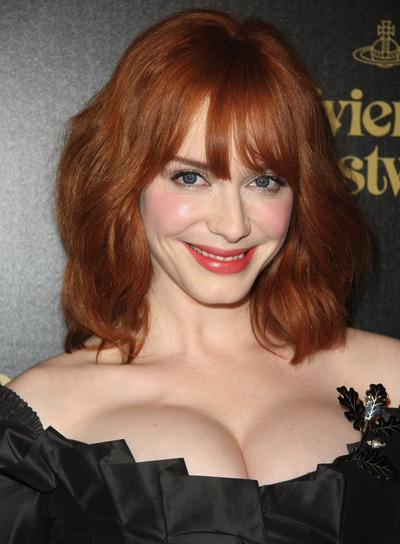 Christina Hendricks' Tousled, Red Bob with Bangs
