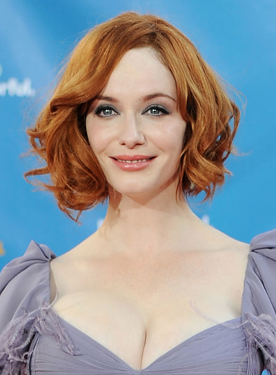 Christina Hendricks' Red, Wavy, Tousled, Bob