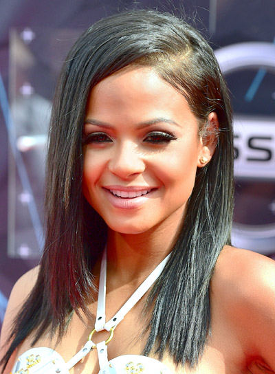 Christina Milian's Medium, Black, Straight, Chic Hairstyle