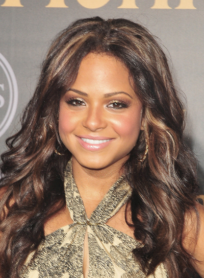 Christina Milian Long, Curly, Romantic, Brunette Hairstyle with Highlights