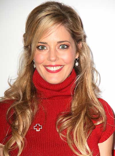 Christina Moore Long, Curly, Romantic, Blonde Half Updo