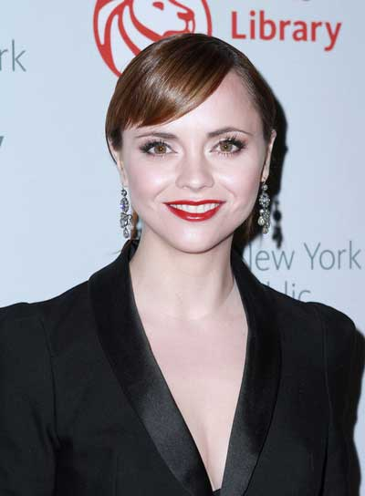 Christina Ricci Sophisticated, Brunette, Straight, Updo with Bangs
