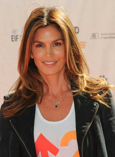 Cindy Crawford Long, Tousled Hairstyle with Highlights