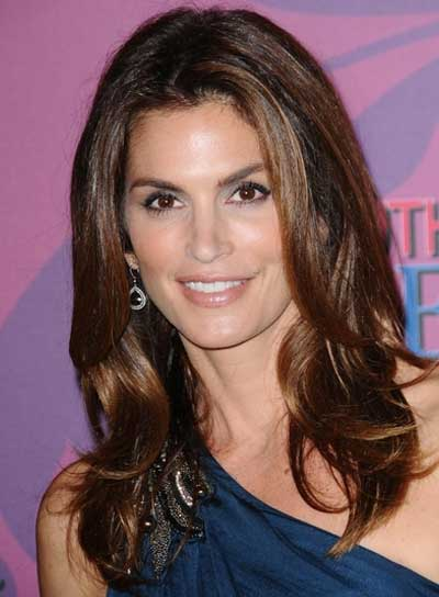 Cindy Crawford Medium, Romantic, Brunette Hairstyle with Highlights