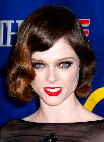 Coco Rocha's Medium, Wavy, Brunette, Romantic Hairstyle
