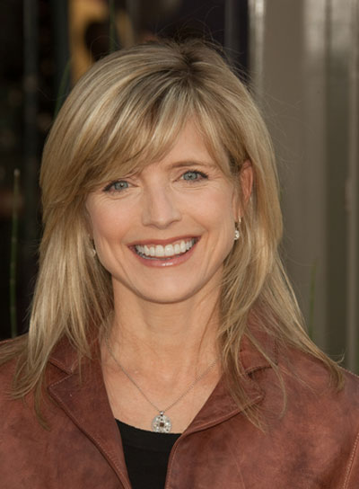 Courtney Thorne-Smith Medium, Straight, Blonde Hairstyle with Bangs and Highlights