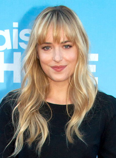 Dakota Johnson's Long, Blonde, Wavy Hairstyle with Bangs