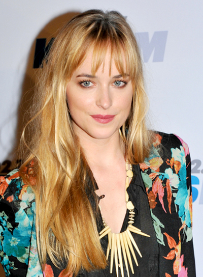 Dakota Johnson Long, Tousled, Blonde Hairstyle with Bangs