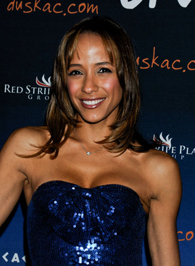 Dania Ramirez Medium, Layered, Brunette Hairstyle with Bangs and Highlights