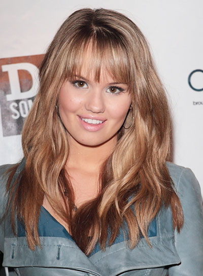 Debby Ryan Long, Sexy, Blonde Hairstyle with Bangs and Highlights