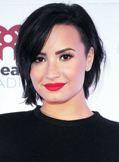 Demi Lovato with an Edgy, Short, Black, Blunt Hairstyle Pictures