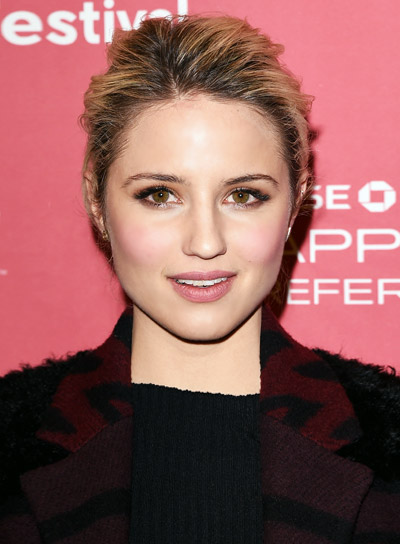 Dianna Agron with a Sophisticated, Blonde, Medium, Updo Hairstyle Pictures
