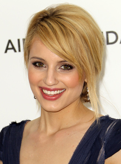 Dianna Agron Chic, Blonde Updo with Bangs