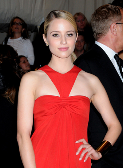 Dianna Agron Straight, Chic, Prom, Blonde Ponytail