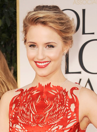 Dianna Agron Sexy, Sophisticated, Tousled, Formal, Blonde Updo with Highlights