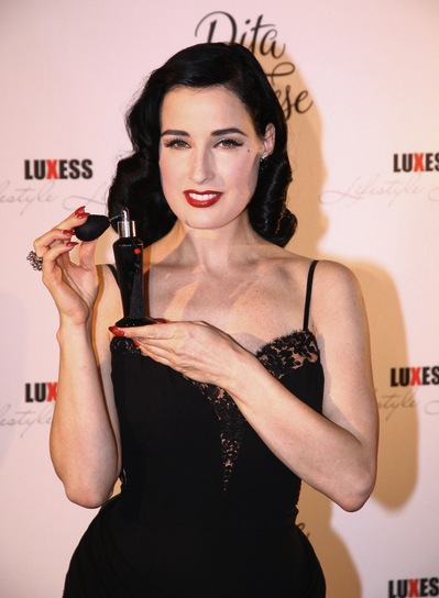 Dita Von Teese Medium, Curly, Sophisticated, Black Hairstyle