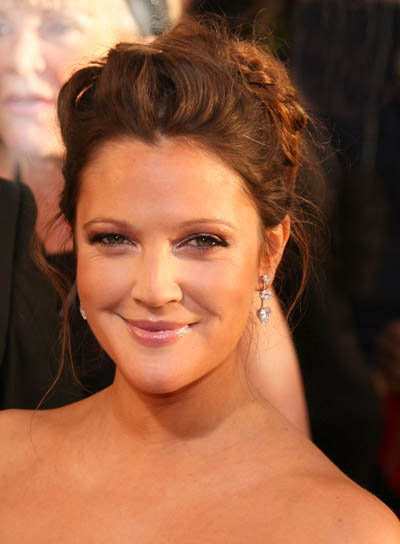 Drew Barrymore Curly, Brunette, Romantic Updo