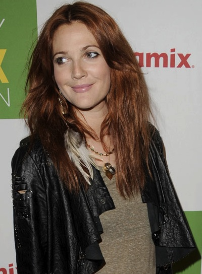 Drew Barrymore Long, Chic, Red Hairstyle