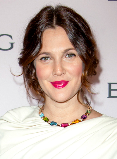 Drew Barrymore's Romantic, Wavy, Brunette, Updo Hairstyle