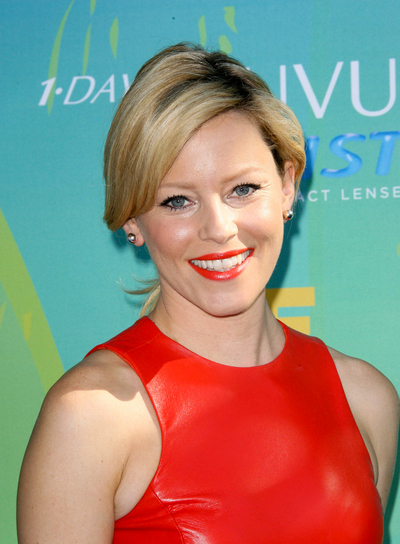 Elizabeth Banks Medium, Sophisticated, Blonde Updo with Bangs