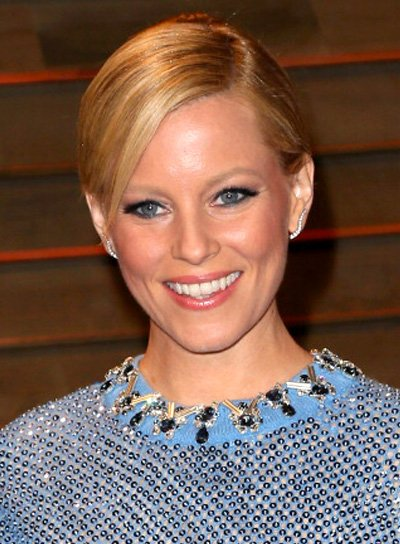 Elizabeth Banks Blonde, Straight, Sophisticated Ponytail Hairstyle