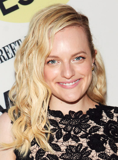 Elisabeth Moss' Medium, Blonde, Wavy, Party Hairstyle