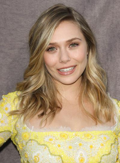 Elizabeth Olsen Medium, Sexy, Tousled, Wavy, Blonde Hairstyle with Highlights