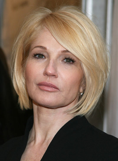 Ellen Barkin Short, Straight, Sexy, Blonde Bob with Bangs