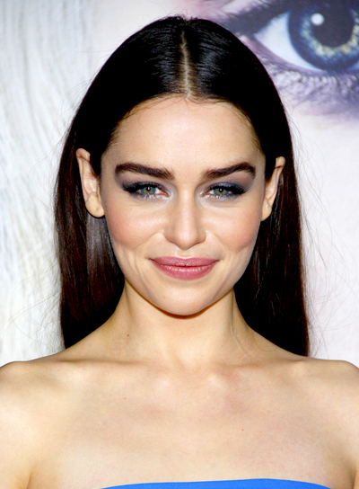 Emilia Clarke's Brunette, Long, Straight, Chic Hairstyle