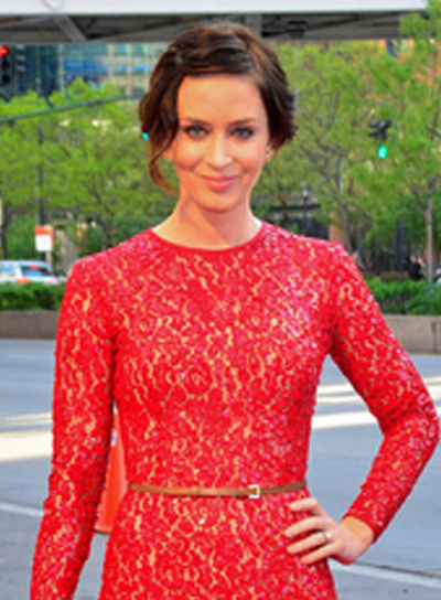 Emily Blunt's Long, Romantic, Chic, Brunette, Updo Hairstyle