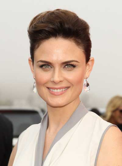 Emily Deschanel Sophisicated, Edgy, Brunette Updo