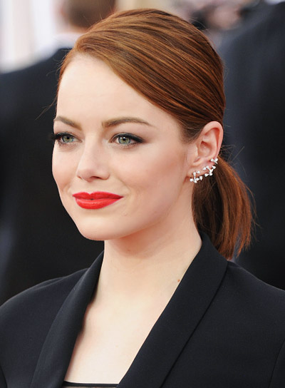 Emma Stone with a Short, Sophisticated, Red, Ponytail Hairstyle Pictures