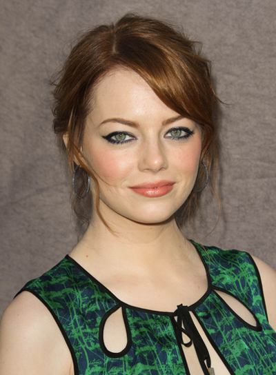 Emma Stone Wavy, Romantic, Red Updo