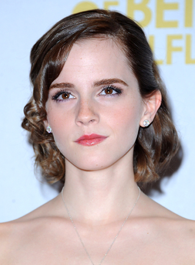 Emma Watson's Curly, Romantic, Medium, Brunette Hairstyle