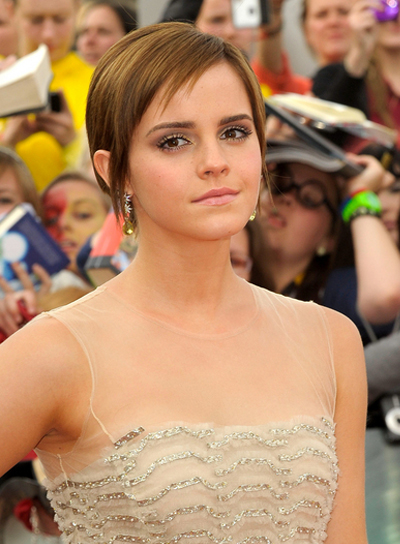 Emma Watson Short, Straight, Chic, Brunette Hairstyle