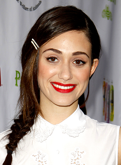 Emmy Rossum's Long, Brunette, Chic Hairstyle with Braids
