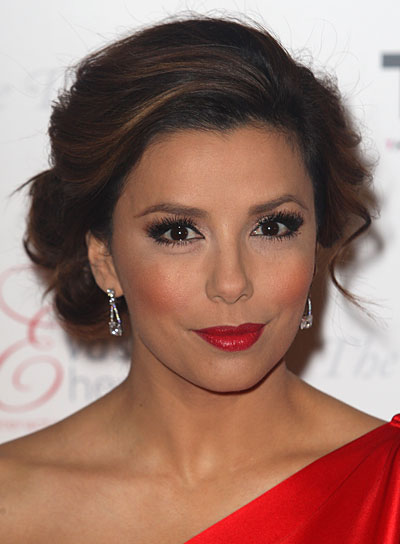 Eva Longoria Romantic, Brunette Updo with Highlights