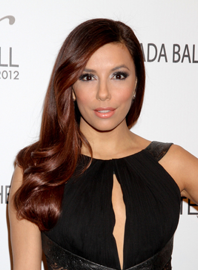 Eva Longoria Long, Romantic, Formal, Brunette Hairstyle