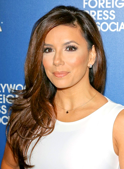 Eva Longoria's Long, Layered, Brunette, Party Hairstyle