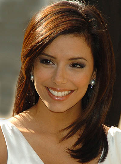 Eva Longoria Straight, Long, Layered Hairstyle
