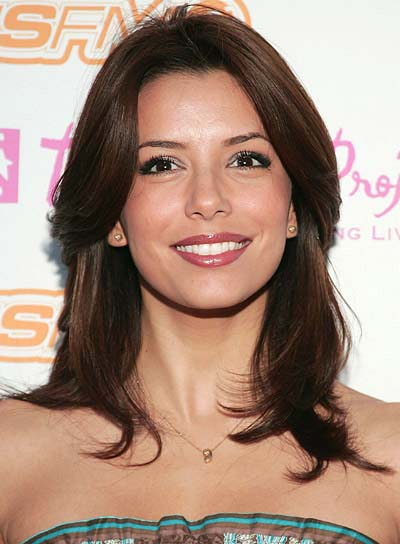 Eva Longoria Medium-Length, Brunette, Straight Hairstyle