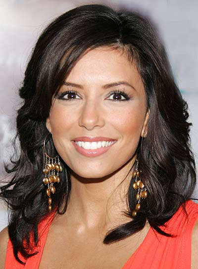 Eva Longoria Brunette, Wavy, Medium-Length Hairstyle