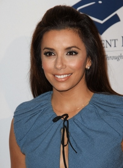 Eva Longoria Straight, Chic, Brunette Hairstyle