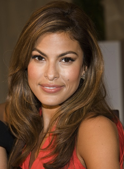 Eva Mendes Medium, Straight, Layered, Brunette Hairstyle with Highlights