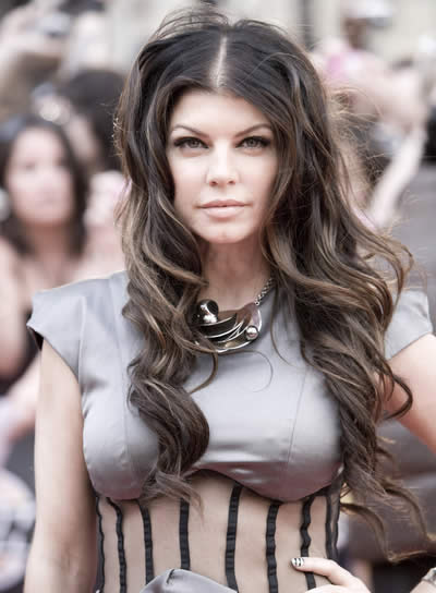 Fergie, Long, Wavy, Brunette Hairstyle